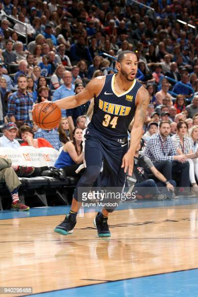 Devin Harris of the Denver Nuggets handles the ball against the Oklahoma City Thunder on March 30 2018 at Chesapeake Energy Arena in Oklahoma City...