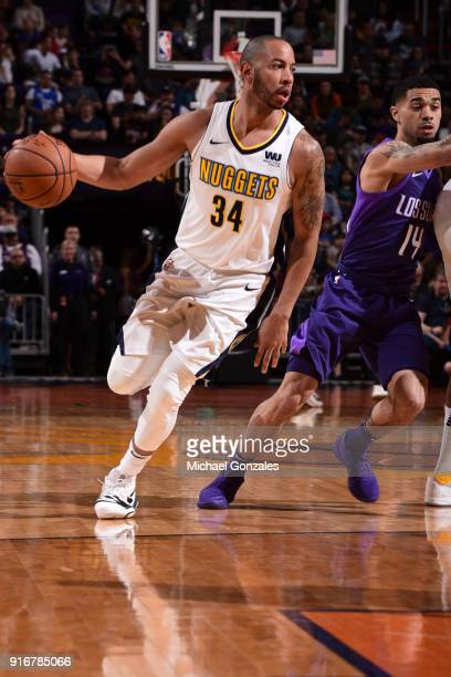 Devin Harris of the Denver Nuggets handles the ball against the Phoenix Suns on February 10 2018 at Talking Stick Resort Arena in Phoenix Arizona...