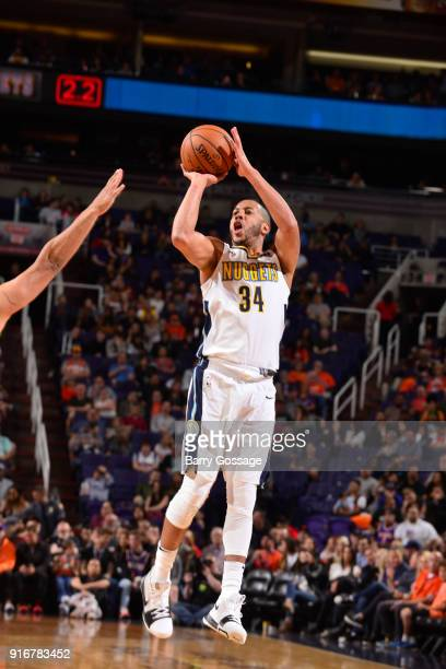 Devin Harris of the Denver Nuggets shoots the ball against the Phoenix Suns on February 10 2018 at Talking Stick Resort Arena in Phoenix Arizona NOTE...