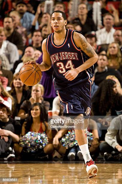 Devin Harris of the New Jersey Nets drives the ball upcourt against the Portland Trail Blazers during the game on March 13 2009 at the Rose Garden in...