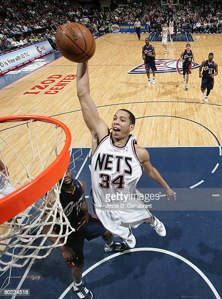 Devin Harris of the New Jersey Nets shoots against the Cleveland Cavaliers on March 12 2008 at the Izod Center in East Rutherford New Jersey NOTE TO...