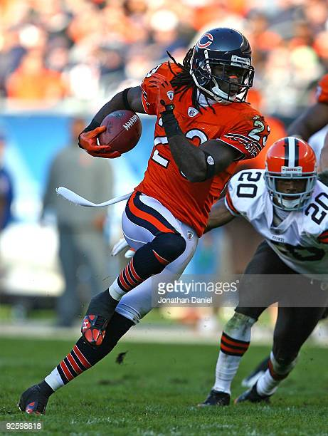 Devin Hester of the Chicago Bears runs with the ball against the Cleveland Browns at Soldier Field on November 1 2009 in Chicago Illinois The Bears...