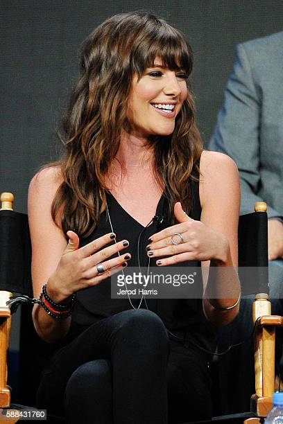 Devin Kelley speaks onstage at the 'Frequency' panel discussion during the CW portion of the 2016 Television Critics Association Summer Tour at The...