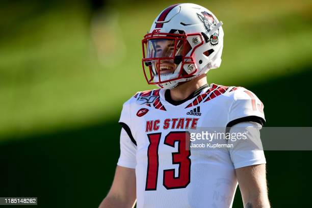 Devin Leary of the North Carolina State Wolfpack before their game against the Wake Forest Demon Deacons at BBT Field on November 02 2019 in Winston...