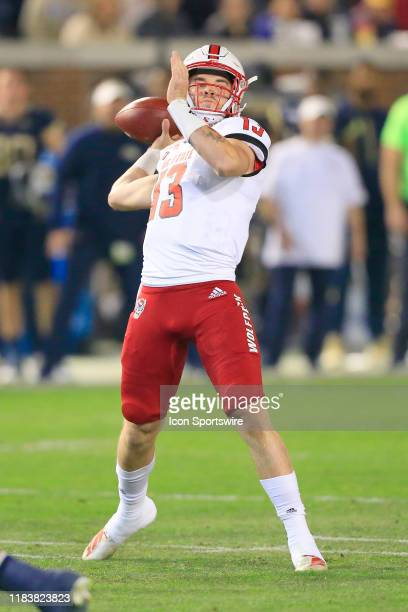 Devin Leary of the North Carolina State Wolfpack throws during the college football game between the North Carolina State Wolfpack and the Georgia...