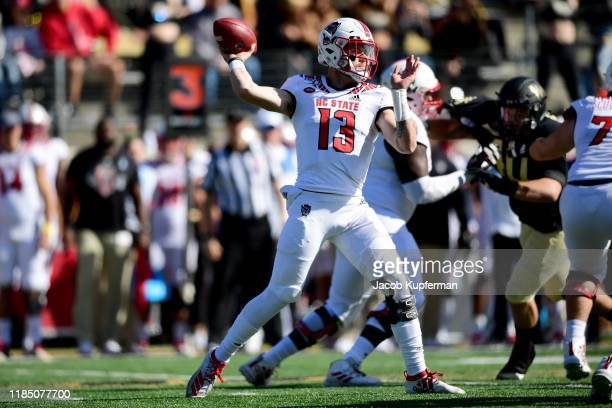 Devin Leary of the North Carolina State Wolfpack throws the ball in the first quarter during their game against the Wake Forest Demon Deacons at BBT...
