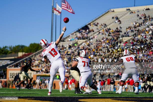 Devin Leary of the North Carolina State Wolfpack throws the ball in the fourth quarter during their game against the Wake Forest Demon Deacons at BBT...