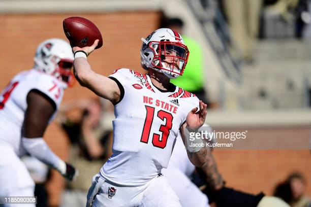 Devin Leary of the North Carolina State Wolfpack throws the ball in the third quarter during their game against the Wake Forest Demon Deacons at BBT...