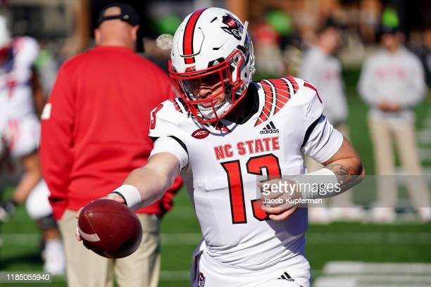 Devin Leary of the North Carolina State Wolfpack warms up before their game against the Wake Forest Demon Deacons at BBT Field on November 02 2019 in...