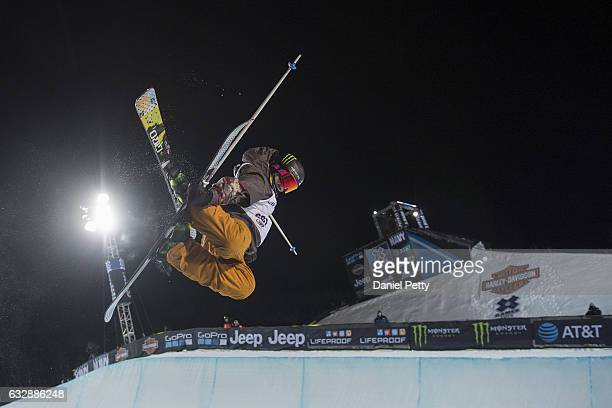 Devin Logan competes during her second run of the women's ski halfpipe final during Day 2 of Winter X Games 2017 Aspen at Buttermilk Mountain on on...