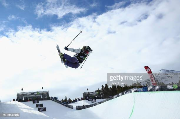 Devin Logan competes in the women's Ski Superpipe qualification during Day 1 of the Dew Tour on December 13 2017 in Breckenridge Colorado