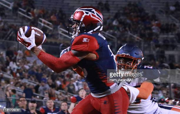 Devin Lucien of the Memphis Express makes a touchdown against Marquez White of the Orlando Apollos during the third quarter of the Alliance of...