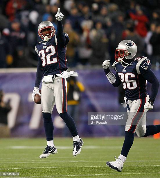 Devin McCourty and James Sanders of the New England Patriots after stopping the offense of the Indianapolis Colts in the second half at Gillette...