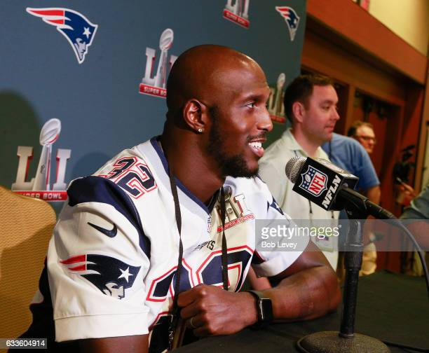 Devin McCourty of the New England Patriots answers questions during Super Bowl LI media availability at the JW Marriott on February 2 2017 in Houston...