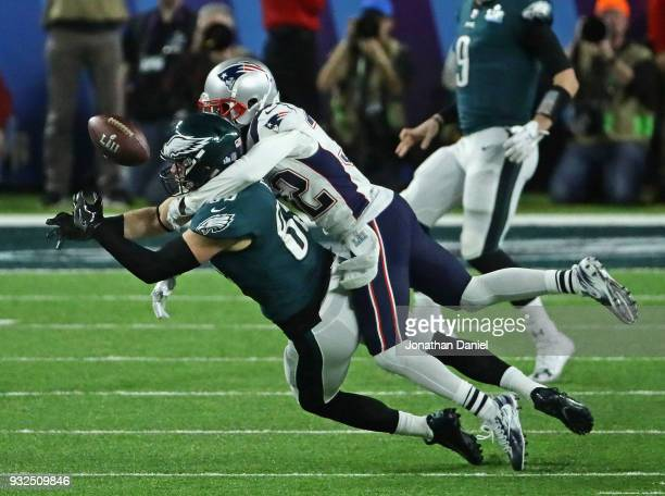 Devin McCourty of the New England Patriots breaks up a pass against Zach Ertz of the Philadelphia Eagles during Super Bowl Lll at US Bank Stadium on...