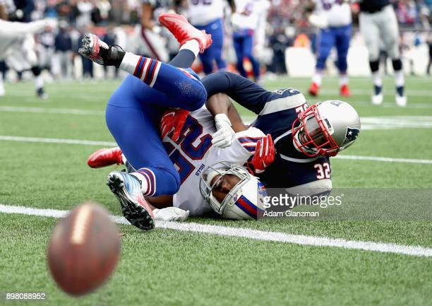 Devin McCourty of the New England Patriots breaks up a pass intended for LeSean McCoy of the Buffalo Bills during the second quarter of a game at...