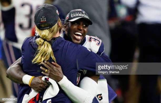 Devin McCourty of the New England Patriots celebrates after defeating the Atlanta Falcons 3428 in overtime during Super Bowl 51 at NRG Stadium on...