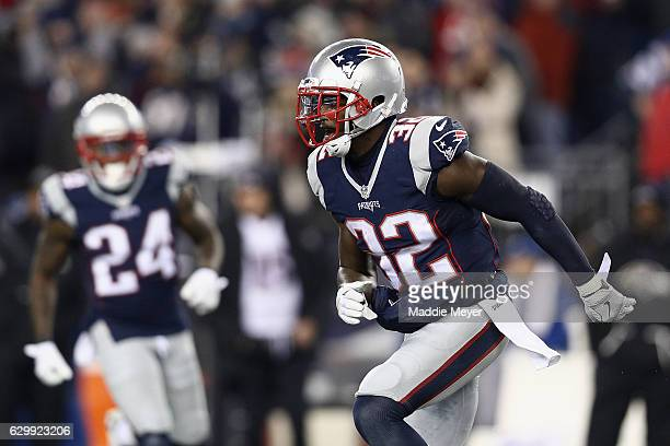 Devin McCourty of the New England Patriots reacts during the game against the Baltimore Ravens at Gillette Stadium on December 12 2016 in Foxboro...