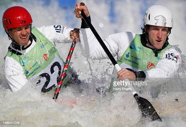 Devin McEwan Casey Eichfeld of the USA compete in the Men's C2 semi final during the ICF Canoe Slalom World Cup at Cardiff International White Water...