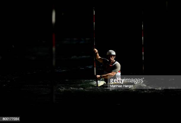Devin McEwan of the United States warms up for the Canoe Single Men's Qualification of the ICF Canoe Slalom World Cup on June 23 2017 in Augsburg...