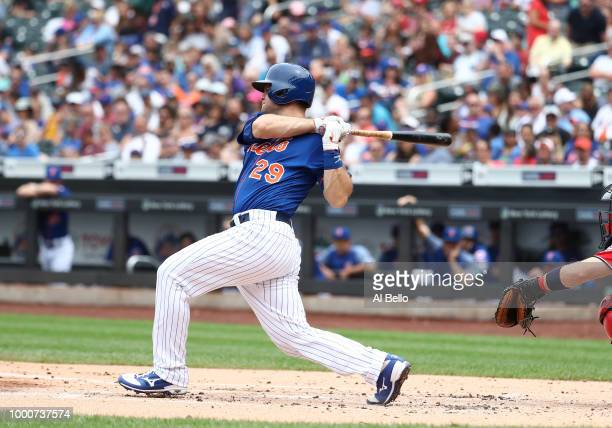 Devin Mesoraco of the New York Mets bats against the Washington Nationals during their game at Citi Field on July 15 2018 in New York City