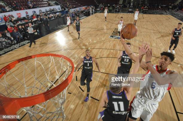 Devin Robinson of the Delaware 87ers drives to the basket against the Reno Bighorns during NBA GLeague Showcase Game 26 on January 13 2018 at the...