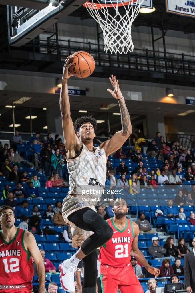 Devin Robinson #6 of the Delaware 87ers dunks against the Maine Red Claws during a G-League game on March 13, 2018 at the Bob Carpenter Center in Newark, Delaware.