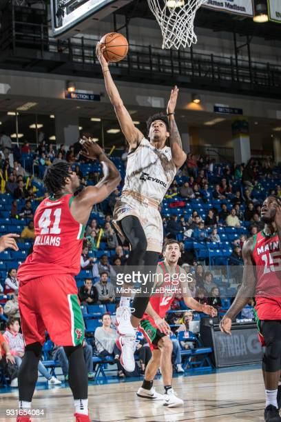 Devin Robinson of the Delaware 87ers dunks against the Maine Red Claws during a GLeague game on March 13 2018 at the Bob Carpenter Center in Newark...