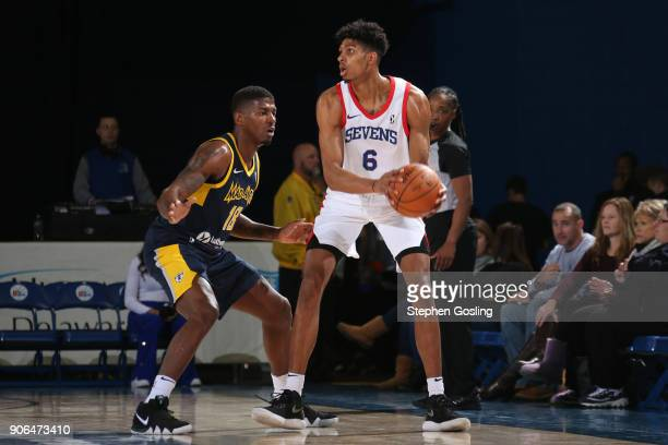 Devin Robinson of the Delaware 87ers handles the ball against the Fort Wayne Mad Ants during a GLeague at the Bob Carpenter Center in Newark Delaware...