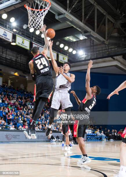 Devin Robinson of the Delaware 87ers shoots against the Erie BayHawks during an NBA GLeague game on January 20 2018 at the Bob Carpenter Center...