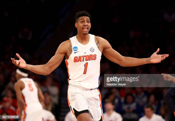 Devin Robinson of the Florida Gators reacts in the second half against the Wisconsin Badgers during the 2017 NCAA Men's Basketball Tournament East...