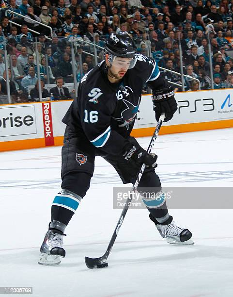 Devin Setoguchi of the San Jose Sharks handles the puck against the Los Angeles Kings in Game One of the Western Conference Quarterfinals during the...