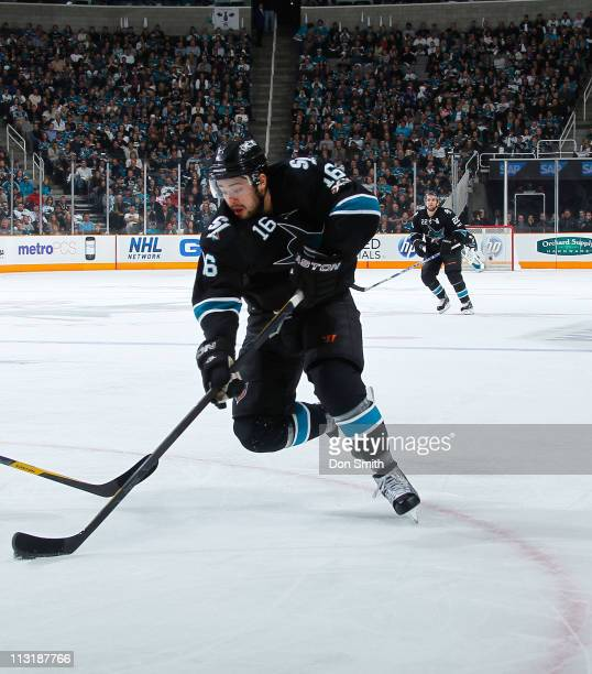 Devin Setoguchi of the San Jose Sharks handles the puck against the Los Angeles Kings in Game 5 of the Western Conference Quarterfinals during the...