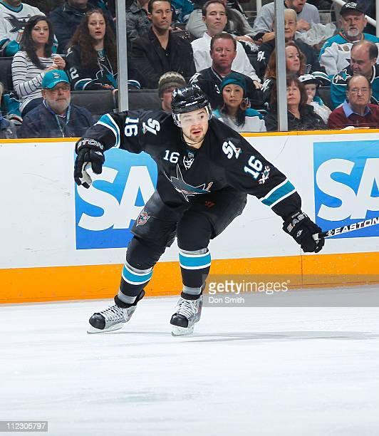 Devin Setoguchi of the San Jose Sharks pursues the puck against the Los Angeles Kings in Game One of the Western Conference Quarterfinals during the...