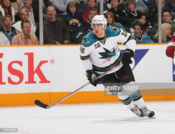 Devin Setoguchi of the San Jose Sharks skates on the ice against the Phoenix Coyotes during an NHL game on November 10, 2007 at HP Pavilion at San...