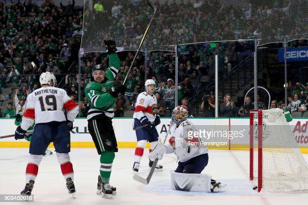 Devin Shore of the Dallas Stars celebrates after scoring a goal against Harri Sateri of the Florida Panthers in the first period at American Airlines...