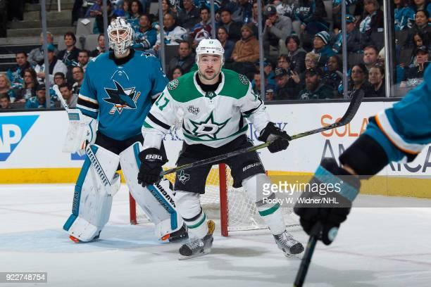 Devin Shore of the Dallas Stars skates in position against Martin Jones of the San Jose Sharks at SAP Center on February 18 2018 in San Jose...