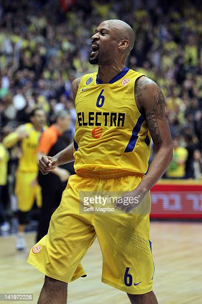 Devin Smith #6 of Maccabi Electra Tel Aviv celebrates during the Turkish Airlines Euroleague Play Off C Game Day 3 between Maccabi Electra Tel Aviv v...