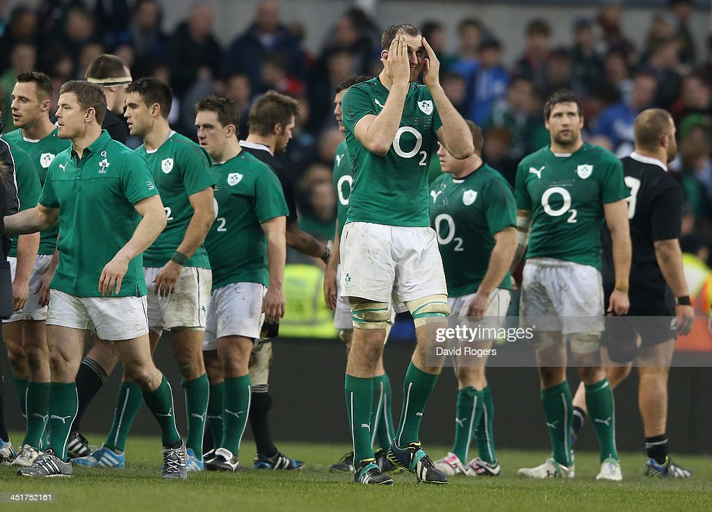 Devin Toner of Ireland looks dejected after their narrow defeat during the International match between Ireland and New Zealand All Blacks at the Aviva Stadium on November 24, 2013 in Dublin, Ireland.