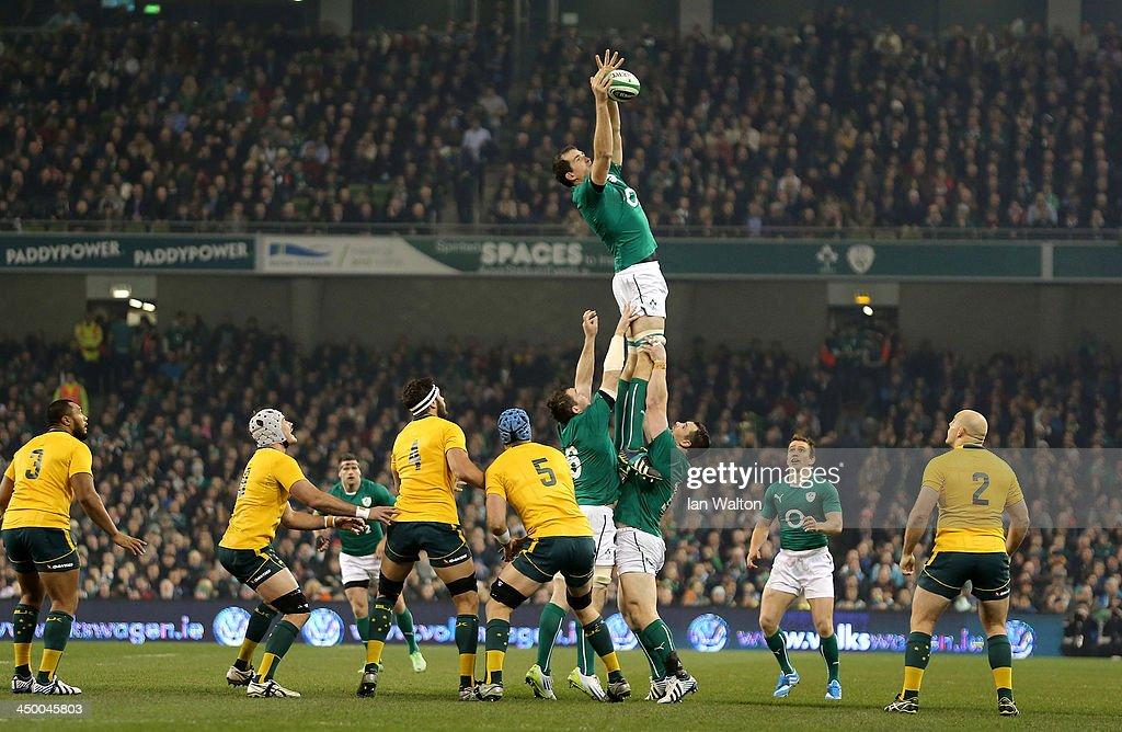 Devin Toner of Ireland wins the ball during the International match between Ireland and Australia at Aviva Stadium on November 16, 2013 in Dublin, Ireland.
