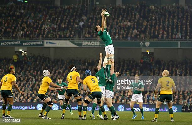 Devin Toner of Ireland wins the ball during the International match between Ireland and Australia at Aviva Stadium on November 16 2013 in Dublin...