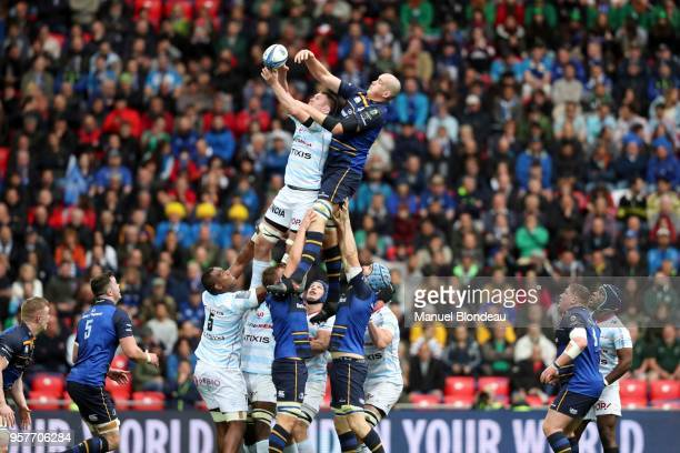 Devin Toner of Leinster and Ryan Donnacha of Racing 92 during the European Champions Cup Final match between Leinster and Racing 92 at San Mames...