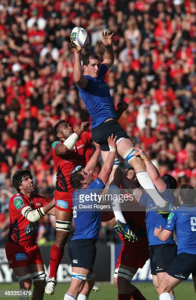 Devin Toner of Leinster wins the lineout during the Heineken Cup quarter final match between Toulon and Leinster at the Felix Mayol Stadium on April...