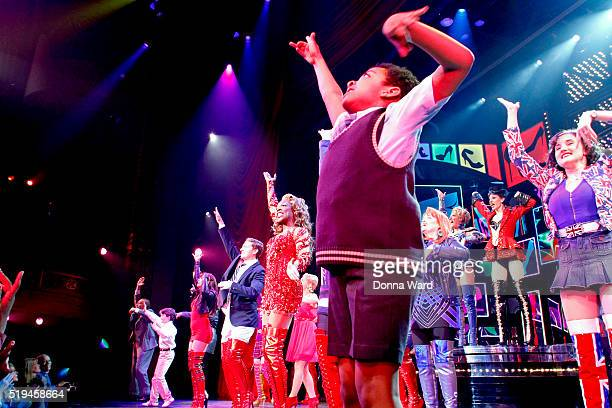 Devin Trey Campbell and the Company appear during curtain call as Kinky Boots Celebrates 3 Years On Broadway at the Al Hirschfeld Theatre on April 6...
