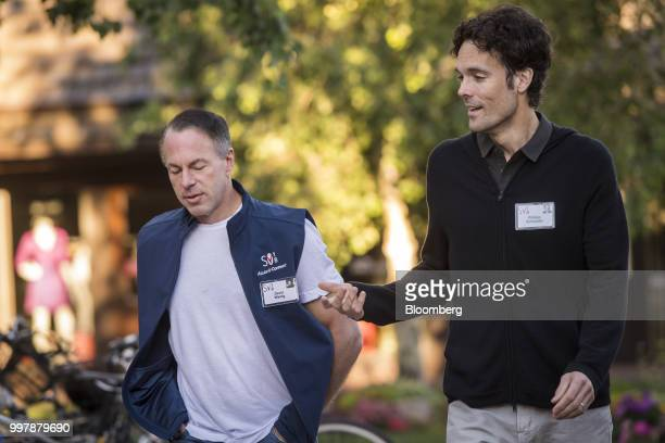 Devin Wenig president and chief executive officer of eBay Inc left and Philipp Schindler senior vice president and chief business officer at Google...