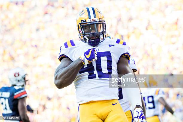 Devin White of the LSU Tigers celebrates after making a tackle during a game against the Auburn Tigers at Tiger Stadium on October 14 2017 in Baton...