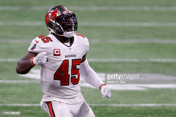 Devin White of the Tampa Bay Buccaneers celebrates sacking Matt Ryan of the Atlanta Falcons for a loss of 7 yards on 3rd down during the fourth...