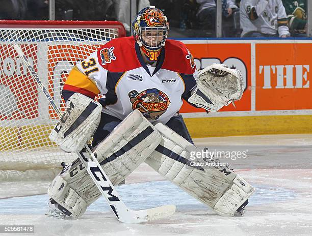 Devin Williams of the Erie Otters gets set to face a shot against the London Knights during game four of the OHL Western Conference Final on April 27...