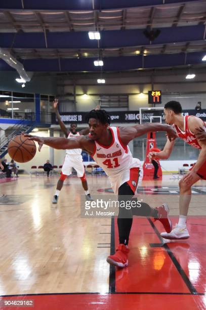 Devin Williams of the Maine Red Claws handles the ball during the NBA GLeague Showcase Game 25 between the Memphis Hustle and the Maine Red Claws on...