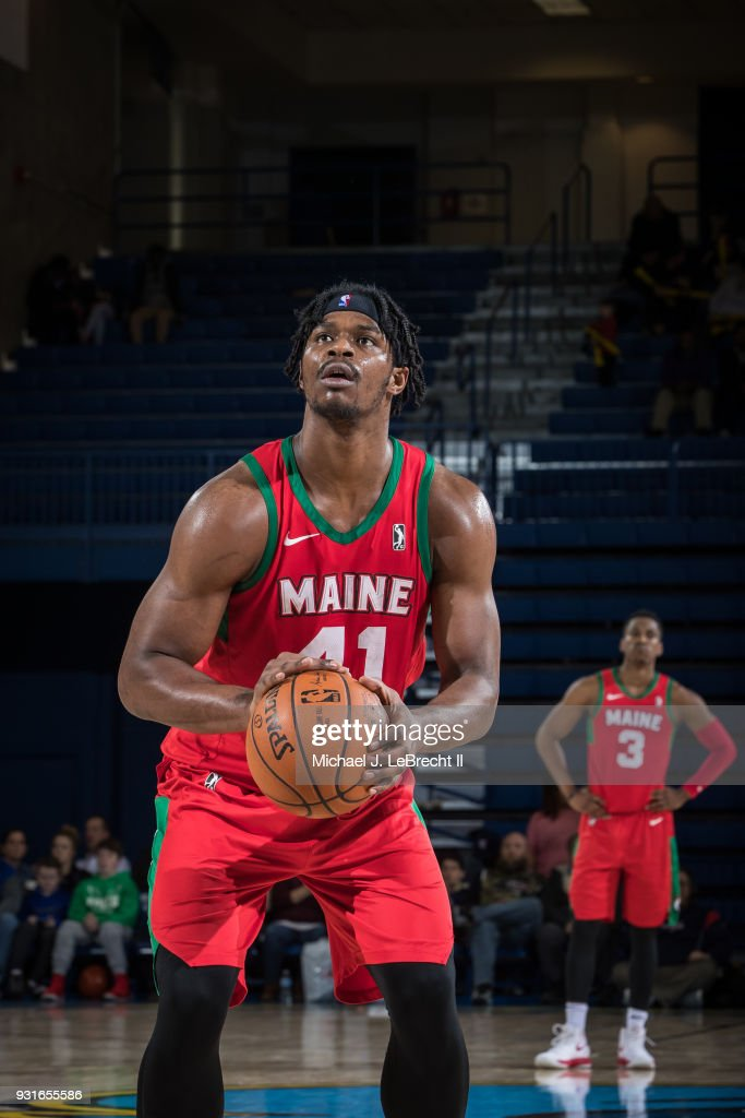 Devin Williams #41 of the Maine Red Claws shoots a free throw against the Delaware 87ers during a G-League game on March 13, 2018 at the Bob Carpenter Center in Newark, Delaware.